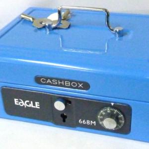 Eagle 668M 雙重保安有密碼和鎖匙手提錢箱 (藍色)