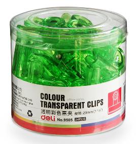 deli NO. 9505 透明彩色膠夾 (24個 裝)