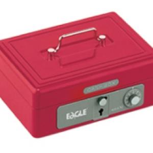 Eagle 668L 雙重保安有密碼和鎖匙手提錢箱 (紅色)