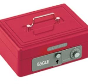 Eagle 668S 雙重保安有密碼和鎖匙手提錢箱 (紅色)