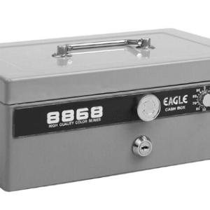Eagle 8868 雙重保安有密碼和鎖匙手提錢箱 (灰色)