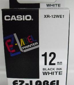 Casio 12mm XR-12WE1 Label Tape