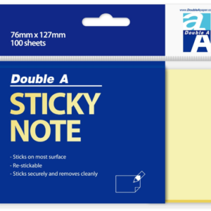 Double A STICKY NOTE 黃色便條紙(76mm x 127mm)