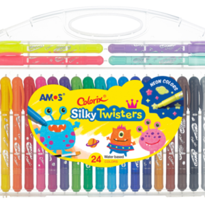 AMOS Colorix Silky Twisters 韓國 無毒神奇三合一水臘筆 (安全無毒蠟筆) – 24色